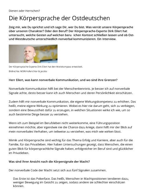 Dienen oder Herrschen? Die Körpersprache der Ostdeutschen