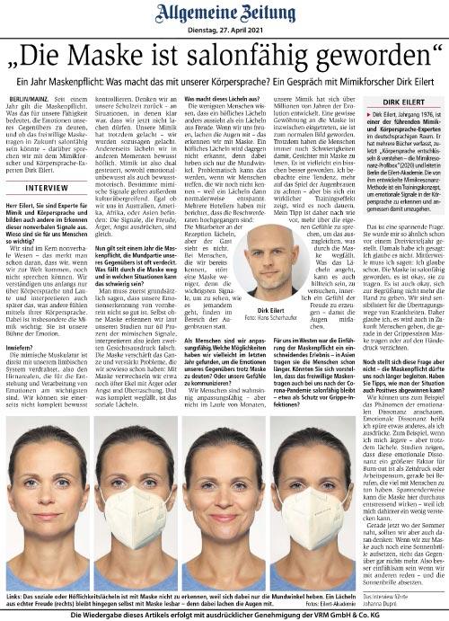 Allgemeine Zeitung - Die Maske ist salonfähig geworden