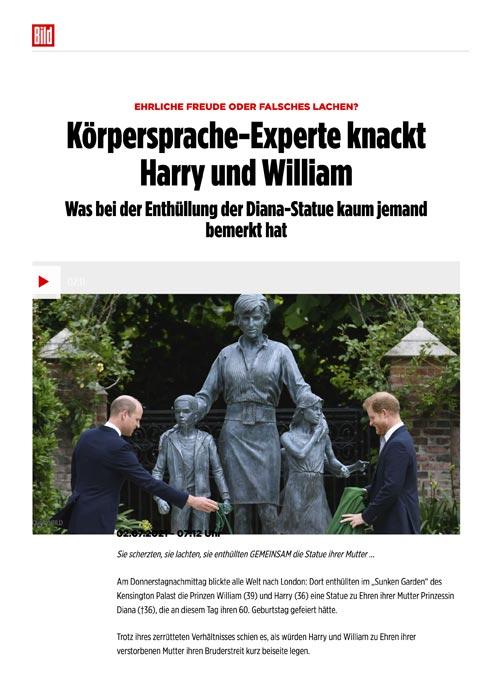 Körpersprache-Experte knackt Harry und William